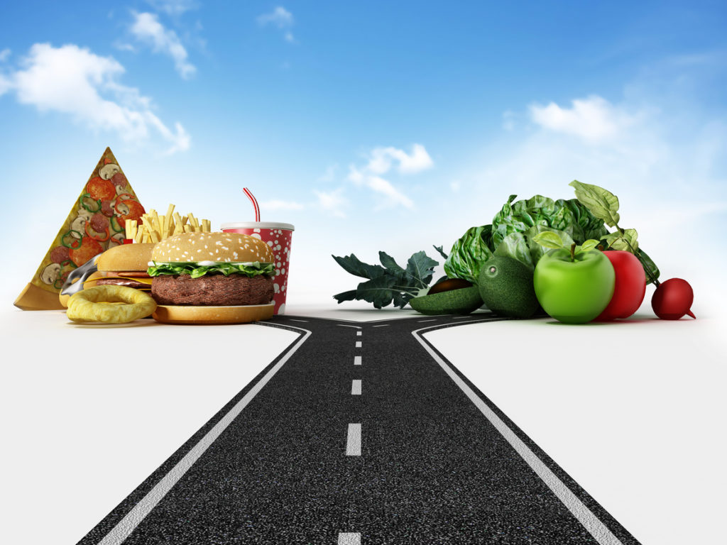 Choice between fast food and healthy food